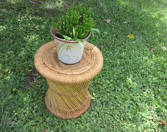 bamboo & woven rope plant stand unusual