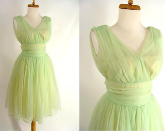 SALE was 133.00. Green Prom Dress. vintage 50s Lime Green and Yellow Shirred Chiffon Short Party Dress. Prom Dress. Homecoming Dress. 2 XS