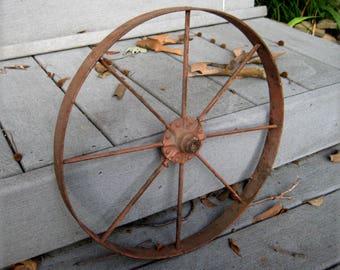 Wagon Wheel, Cast Iron Wheel, Iron Wheel, Metal Wheel, Small Metal Wheel