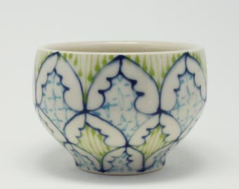 Ceramic Demitasse - Tea Cup, Saki Cup - Handmade with Navy, Kiwi and Turquoise Pattern