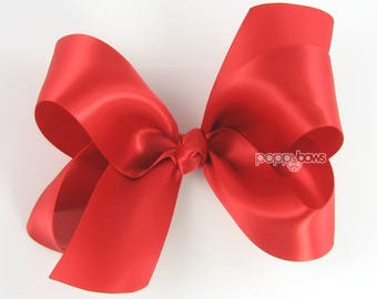 "Red Hair Bow, Satin Hair Bow 4"", Red Satin Hair Bow, Girls Hair Bow, Big Hair Bow, Christmas Hair Bow, Holiday Bows, Boutique Bow S4-red"