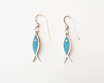 Mexican Sterling Silver & Crushed Chrysocolla Fish Motif Earrings Signed RG—Vintage Midcentury Dangles on New Sterling Fish Hook Wires