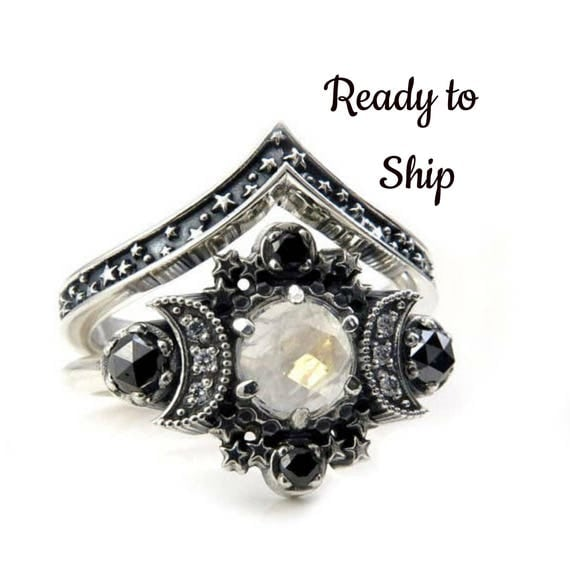 Ready to Ship Size 6-8 Rainbow Moonstone Cosmos Moon Engagement Ring Set - Sterling Silver