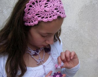ON SALE 15 % SALE Crochet Lace Head Wrap - Summer Hair Fashion Accessories - handcrochet headband in lilac pink  color