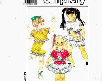 Simplicity 9581 Sizes 3-4-5-6 Shorts, Top, Pull-on Skirt Ruffles Uncut Sewing Pattern