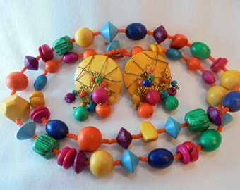 Vintage Wood Necklace & Earrings Set / Lot Dyed Multi Colored POP ART Retro Wooden Chunky Beads Retro Art Deco Statement