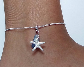 Blue beach glass anklet. Starfish anklet - Sea glass Jewelry