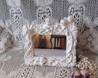 Small mirror, French Country decor, Shabby White Cherubs. Standing Vanity Mirror, ornate baroque