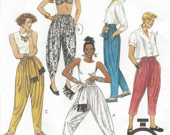 90s Womens Harem Pants Dropped Crotch Pants in Two Lengths McCalls Sewing Pattern 4916 Size 14 to 16 Waist 28 to 30 Hip 38 to 40