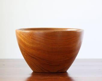 Vintage Wood Bowl, Large Wooden Bowl, Hand Carved Bowl, Mid Century Wood Bowl, Teakwood, Valet Tray, Mens Valet, Gift For Him