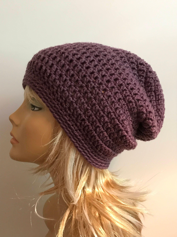 464b0a09fcc Slouchy Beanie Purple Hat - Crochet Slouch Beanie Purple Womens Beanie  Hipster Hat - Slouchy Beanie