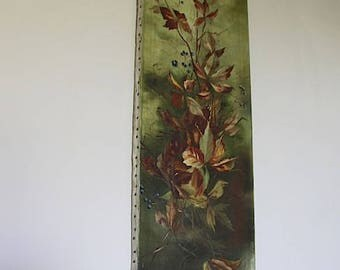 French Antique Painting of Autumn Leaves Signed by Artist