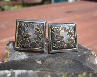 Swank Enamel and Abalone Inlay Silver and Gold Cuff Links