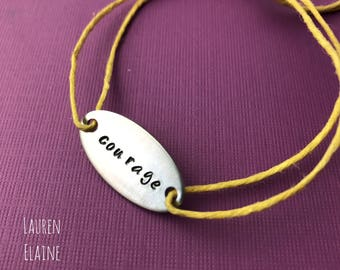Custom Hand Stamped Aluminum Oval Charm Bracelet With Hemp Cord- You Personalize