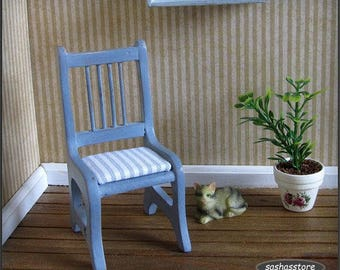 Dollhouse Miniature, Wooden Chair, Country Style, Shabby Cottage Chic, 1:12th Scale Furniture