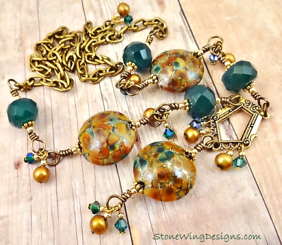 Artisan Lampwork Wire Wrapped Y Gemstone and Pearl Art Deco Inspired Statement Necklace