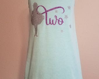 girls TWO birthday dress tank style with silver ballerina or gold fairy vinyl design