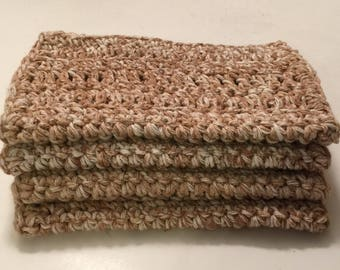 4 Large dish cloths/ dish rags/ wash cloths made with 100% cotton yarn Sahara Splash
