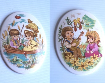 vintage 70s set of 2 BOY and GIRL in love PICTURES wall hangings kitschy home decor retro art