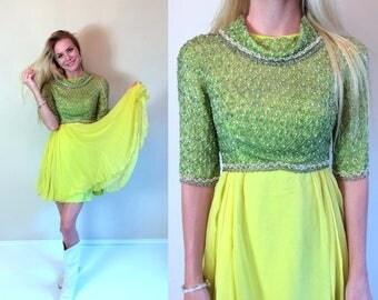 vtg 60s BEADED silk Mini COCKTAIL DRESS xs lime green yellow rhinestone ethereal full skirt mod party