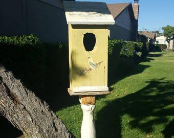 Warm yellow birdhouse,rustic garden decor,outdoor birdhouse,bird,handmade,medium,antique inspired,Natural elements,primitive birdhouse,white