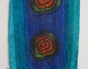 "Long Hand Painted Silk Scarf  19"" X 60""  #097"