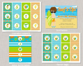 Surfer Birthday Party, Surfing Birthday Party, Surfer Birthday Decorations, Beach Party, Pool Party, Beach Birthday Party, Surfer Invitation