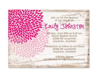 Rustic Floral Baptism Invitation
