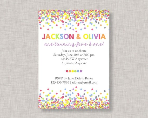 sibling birthday invitation confetti birthday invitation sibling