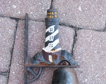 Vintage Lighthouse Wall Mount Bell, Cast Iron Wall Mount Bell