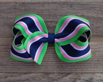 Boutique Hair Bow~Striped Hair Bow~Navy Striped Hair Bow~Medium/Large Hair Bow~Striped Boutique Bow~Hair Bow~Striped Bows~Hairbow~Navy Bow