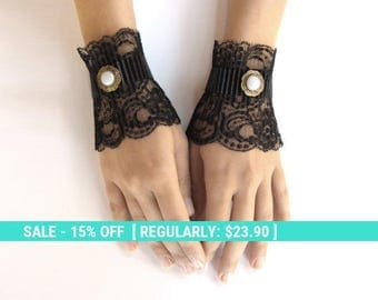 SUMMER SALE Black lace gloves lace mittens black short cuffs