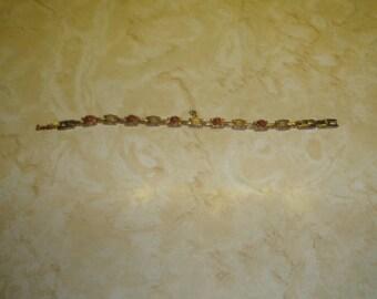 vintage bracelet goldtone coral beads