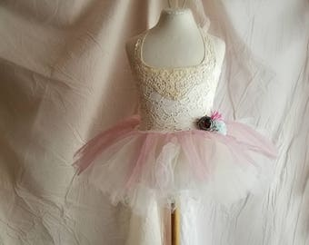 Whimsical boho flower girl ballerina dress. Tutu dress. Dusty rose ivory with flowers. Bohemian wedding. Handmade dress 2-3 years.