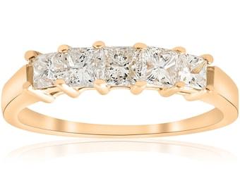 Yellow gold diamond ring 1ct Princess Cut Diamond Anniversary 14K Gold Ring