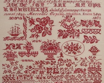 QUEENSTOWN SAMPLER DESIGNS Mercedes Ospina 1863 counted cross stitch patterns at thecottageneedle.com monochromatic