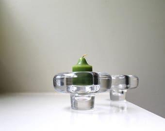 Vintage Modern Dansk Crystal Votive Candle Holder Pair Solid IHQ Scandinavian Art Glass Quistgaard