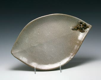 Ceramic Handmade Leaf Platter in Shades of Brown with FROG/Ceramics and Pottery