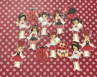 Lady Bug divas 13 large african american decorative scrapbooking stickers will fit most planners