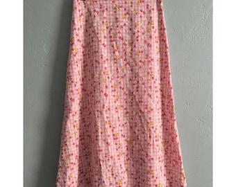 90's Pink Gingham Floral Skirt