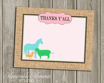 """INSTANT DOWNLOAD - Printable 5.5""""x4.25"""" flat Thank You Cards - Vintage Petting Zoo Pastel and Burlap Design - Memorable Moments Studio"""