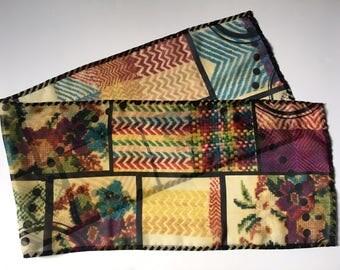 Scarf, Chiffon, Medium || Embroidery, Trompe-l'oeil, Fun, Cool, Needlework, Colorful, Graphic, Flirty, Jaunty