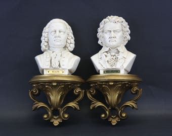 SOLD - Vintage Beethoven & Bach Bust Ornate Wall Décor (E8534)