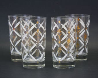 Vintage White and Gold Mid Century Glass Tumblers, Set of 4 (E8554)