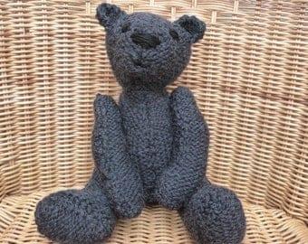 "11"" Bear Larger bear. Larger handmade bear Grey Bear. Dark Grey Teddy Bear Traditional Handmade Old Fashioned Teddy knitted wool Teddy Bear"