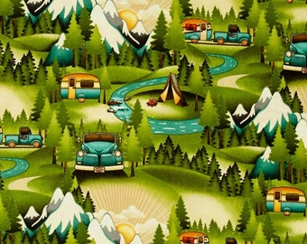 """NEW Mountain Camping Valance or Panel Cotton Campers Trailers  Print 12"""" 14"""" 18"""" 24' 32"""" Lined or Unlined"""