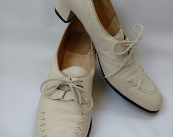 Vintage 1930s Style Shoes Beige Off White Size 9 Narrow