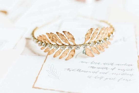 Leaf Tiara, Gold Tiara, Gold Leaf Headpiece, Leaf Halo, Bridal Tiara, Gold Leaf Headband, Woodland, Boho, Laurel Leaf, Goddess ISADORA
