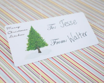 Handmade Cardstock Gift Sticker Set of 12 - Merry Christmas Bitches  -  Watercolor Pine Tree print