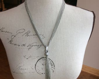 Antique silver and rhinestone one of a kind necklace and stud earrings